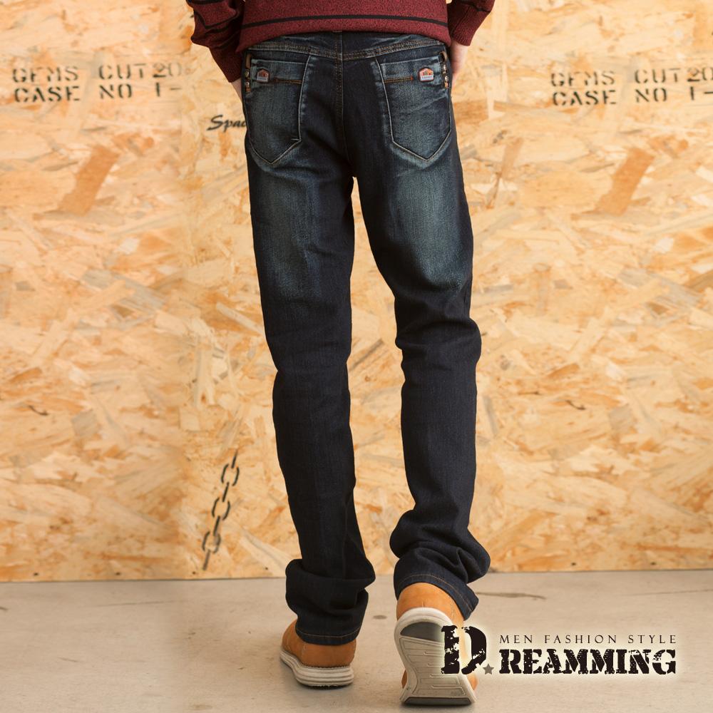 Dreamming 率性皮標刷白伸縮修身直筒牛仔褲