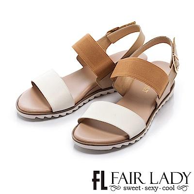 Fair Lady 舒適一字鬆緊拼色內增高涼鞋 卡其