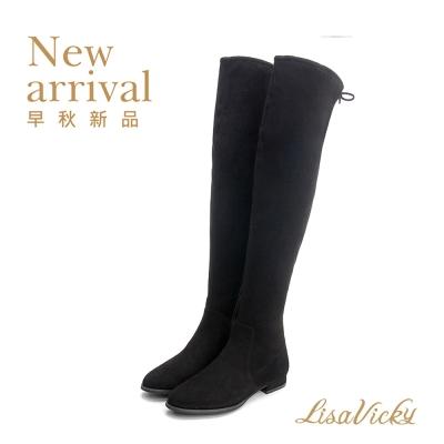 LisaVicky 秋冬必備鬆緊貼腿顯瘦過膝靴-黑色