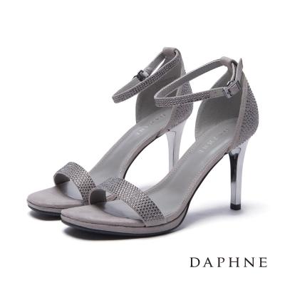 達芙妮DAPHNE-涼鞋-絨面貼鑽一字高跟涼鞋-灰