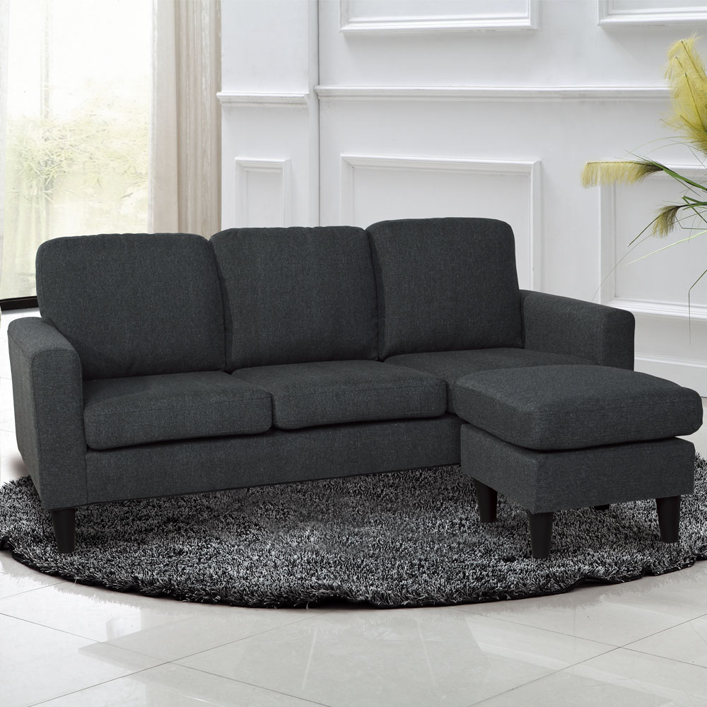 居家生活 尼爾頓L型鐵灰色布沙發組(三人+凳)