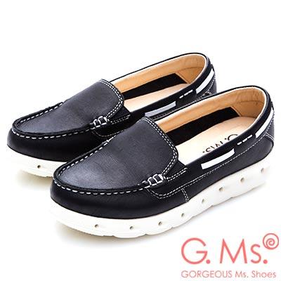 G.Ms. MIT輕量超軟Q~牛皮素面莫卡辛休閒鞋~黑色