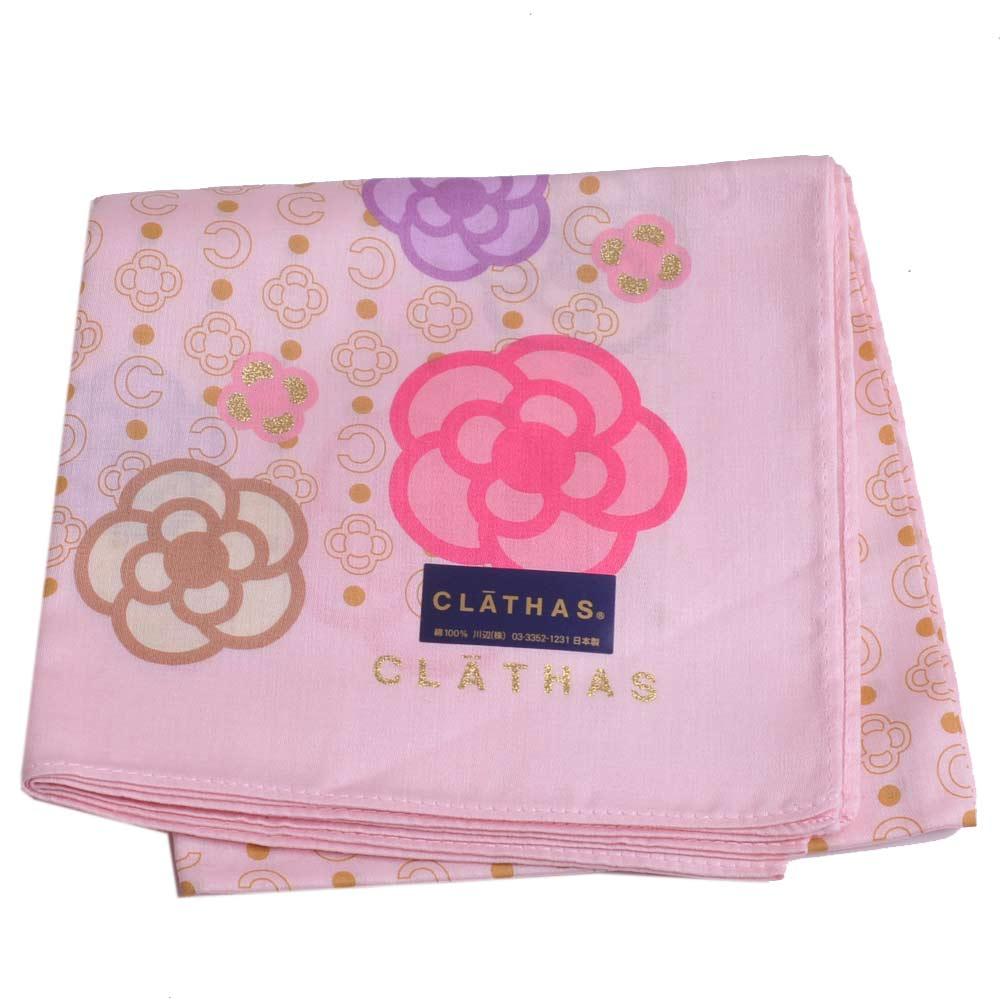 CLATHAS繽紛LOGO圖騰品牌金蔥字母領巾粉紅
