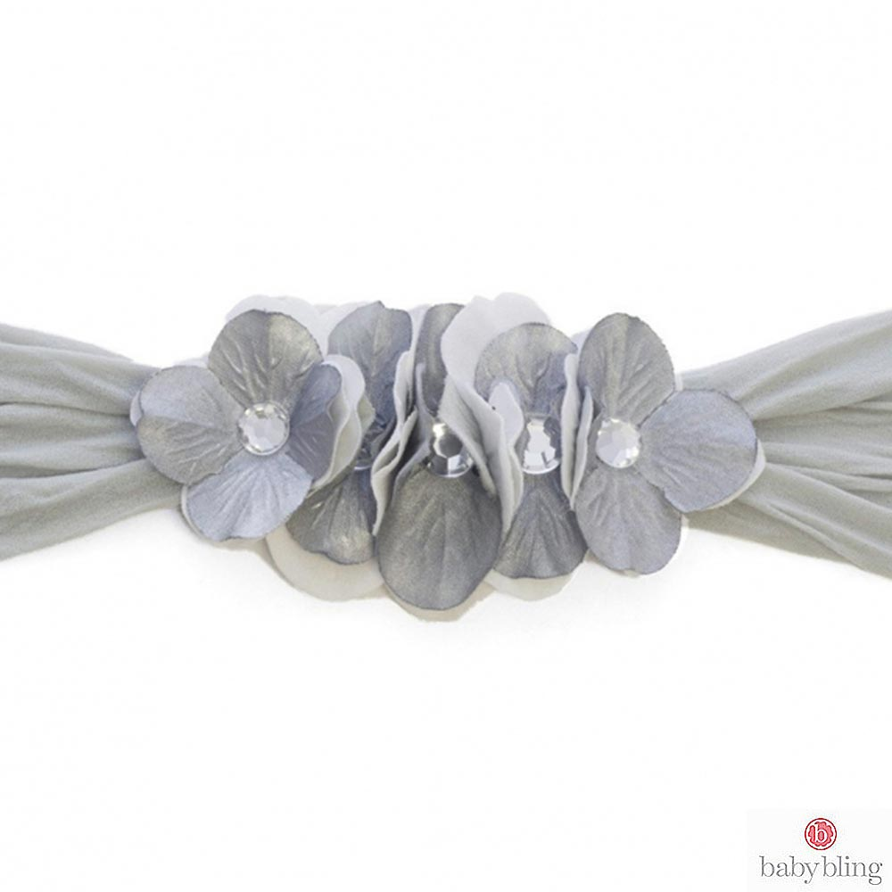 Baby Bling 撞色花朵寬版寶寶髮帶髮飾 - 銀灰