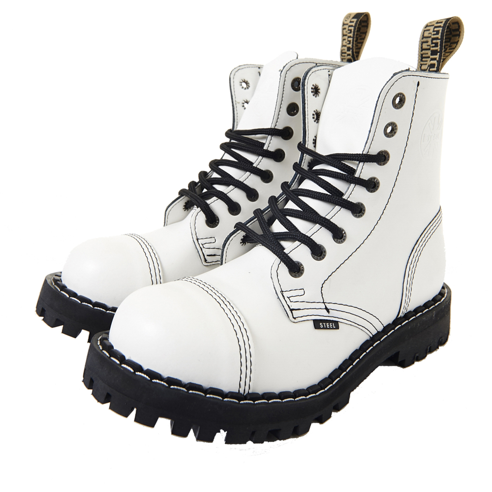 STEEL BOOTS歐洲經典6孔鐵頭靴-白色