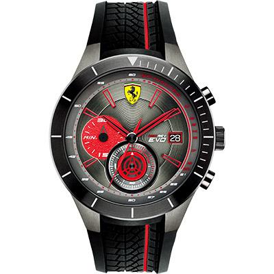 Scuderia Ferrari 法拉利 RedRev Evo 計時手錶-紅x黑/46mm