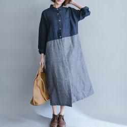寬鬆棉麻拼色格紋長袖洋裝