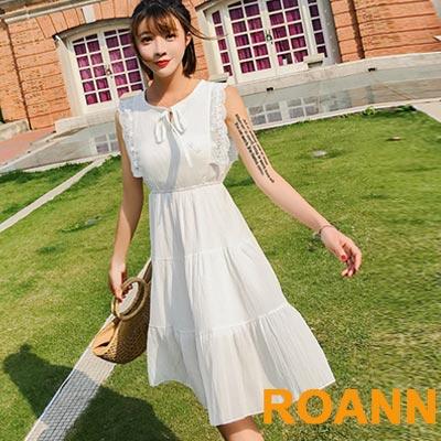 圓領拼接縷空蕾絲綁帶無袖洋裝 (共三色)-ROANN
