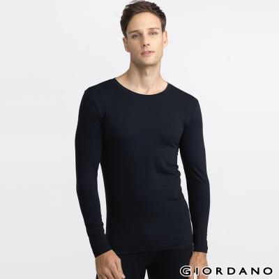 GIORDANO 男裝 G-Warmer彈力舒適圓領極暖衣 - 03 標誌黑