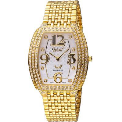 Ogival 愛其華 經典酒桶型時尚腕錶-金色/33x40mm