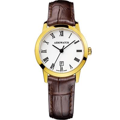 AEROWATCH 羅馬佳人經典時尚女錶-金框x咖啡/29mm