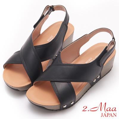 2.Maa-獨特簡約交叉設計厚底涼鞋-黑