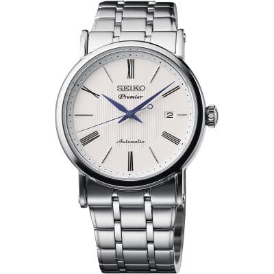 SEIKO 精工 Premier 系列超薄機械腕錶(SRPA17J1)-白/40mm