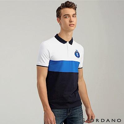 GIORDANO 男裝運動刺繡徽章彈力棉POLO衫 -  07 標誌白/青藍