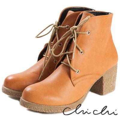 Chichi-日本品牌空運-仿舊擦色綁帶高跟靴-駝色