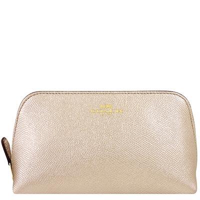 COACH 金色金屬光澤皮革化妝包