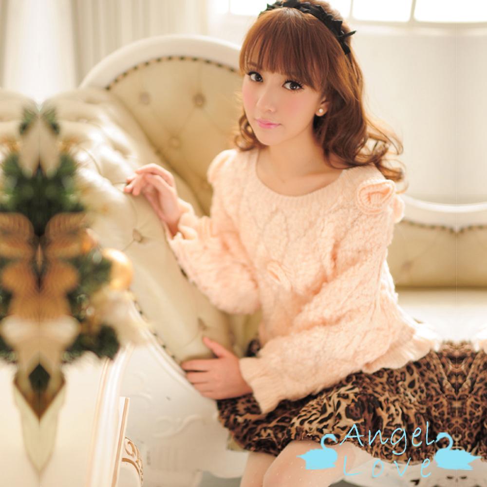 Angel Love 甜美毛毛感立體花朵菱格毛衣 (粉色)