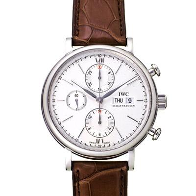 IWC萬國錶 Portofino IW391007柏濤菲諾三針計時機械腕錶-白/41mm