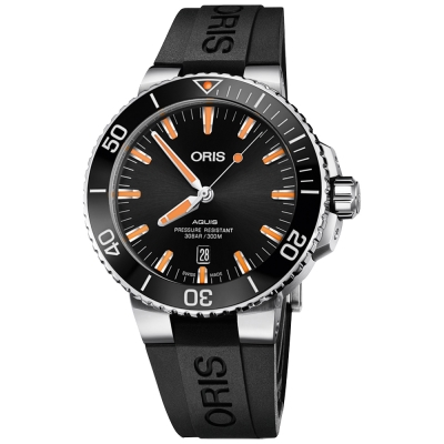 Oris豪利時 Aquis 時間之海潛水300米日期機械錶-橘時標/43.5mm