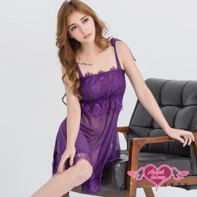 性感睡衣 花情蘇語 蕾絲柔紗連身睡衣(深紫F) AngelHoney天使霓裳