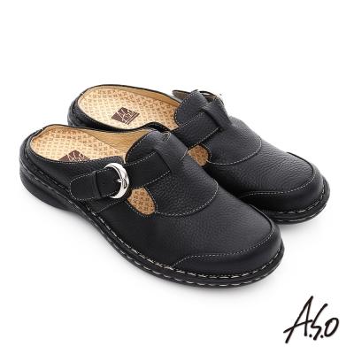 A.S.O 抗震雙核心 真皮飾釦奈米氣墊後空包懶人鞋 黑色