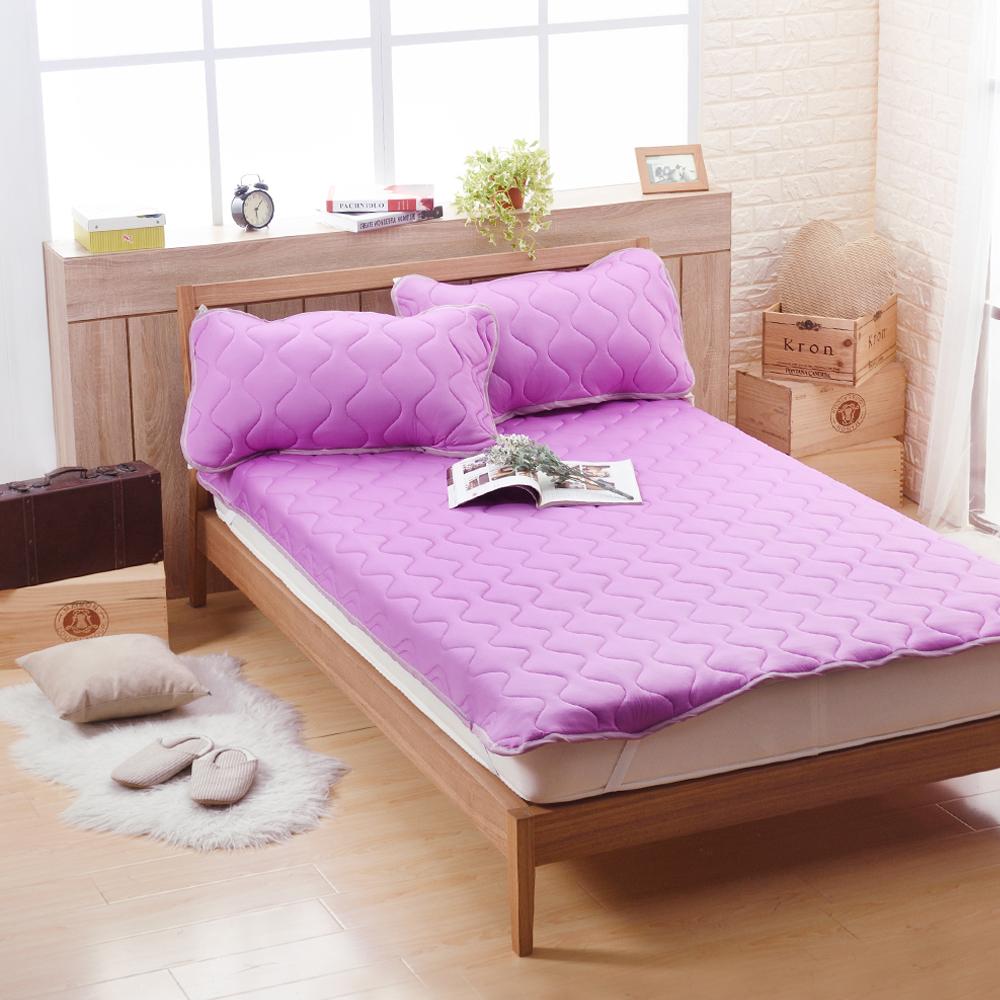 喬曼帝Jumendi 超涼感纖維針織雙人保潔墊-浪漫紫