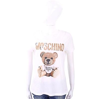 MOSCHINO 瓦楞泰迪熊貼圖白色棉質T恤