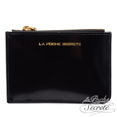 La Poche Secrete真皮 簡約真皮實用卡夾零錢包-曜石黑