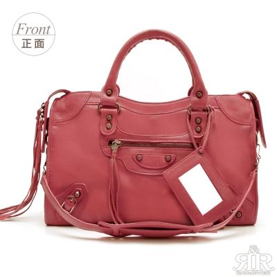 【2R】首爾熱賣全羊皮機車包-大版 (甜莓紅)
