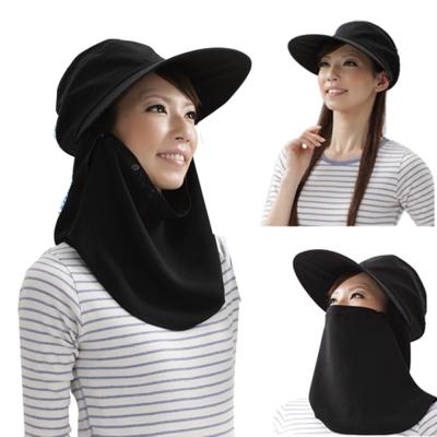 防曬護項3用-抗UV寬帽緣全包覆遮陽帽