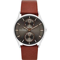 SKAGEN 都會日曆石英腕錶-灰x咖啡色錶帶/40mm
