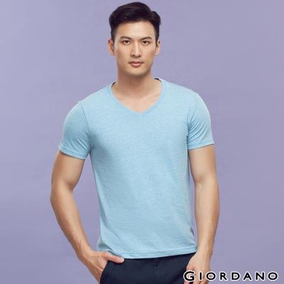 GIORDANO-男裝素色純棉V領短袖TEE-09