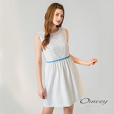 OUWEY歐薇 條紋剪接縷空圓領背心洋裝(白)-動態show