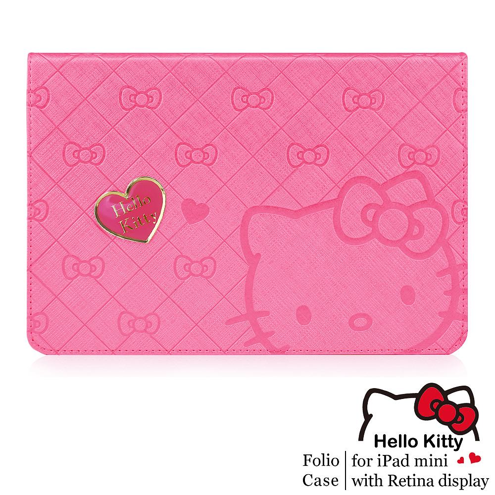 GARMMA Hello Kitty iPad Mini2 Retina摺疊式皮套–寵愛桃