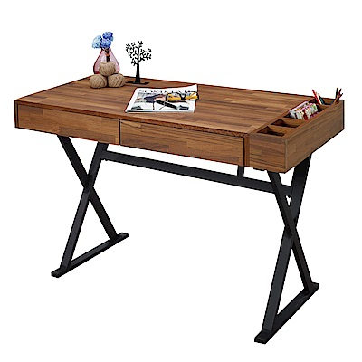 AT HOME - 巴哈4尺柚木集層二抽書桌 120x60x75cm