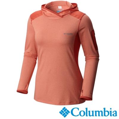 【Columbia哥倫比亞】女-鈦 酷涼快排長袖連帽上衣-橘紅 UAL19240AH