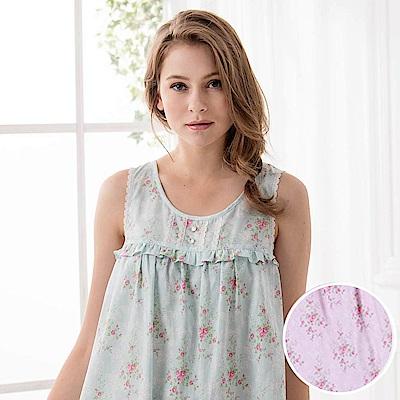 羅絲美睡衣 - 晨曦花園無袖洋裝睡衣(櫻花粉)