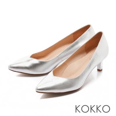 KOKKO日本彎折工藝-經典尖頭透氣真皮高跟鞋-金屬銀
