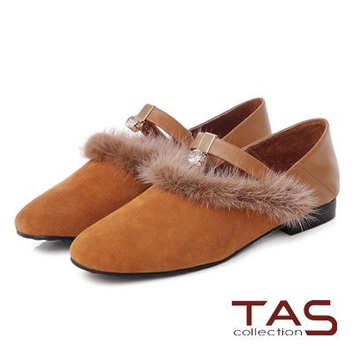 TAS 貂毛滾邊白鑽一字繫帶踩腳休閒鞋-迷人棕