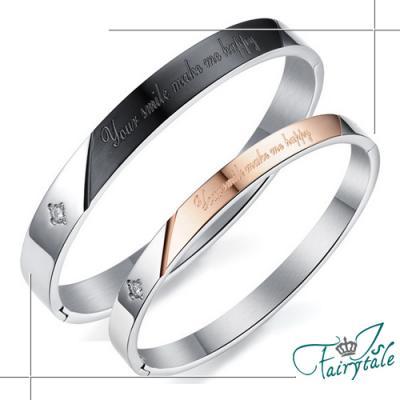 iSFairytale伊飾童話 快樂泉源 鑲鑽鈦鋼情人男女手環