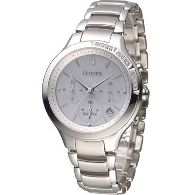 星辰 CITIZEN L系列 甜美真鑽光動能計時腕錶(FB4000-53A)-白/37mm