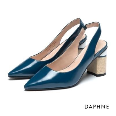 達芙妮DAPHNE 高跟鞋-復古撞色後拉帶圓跟高跟鞋-湖藍
