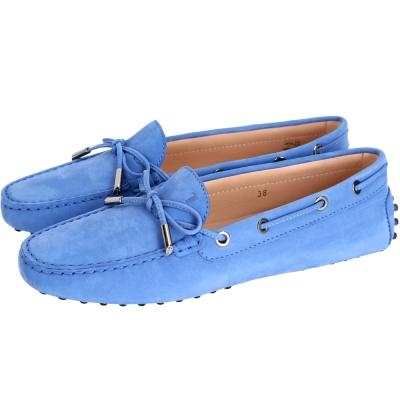 TOD'S Gommino Driving 麂皮綁帶豆豆休閒鞋(女鞋/藍色)