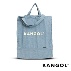 KANGOL品牌經典手提側背兩用牛仔輕便帆布袋/購物袋/學生包/情侶包 -天空藍