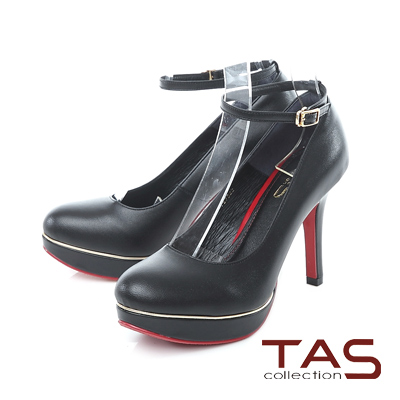 TAS 兩穿式霧面金屬邊條踝繫帶高跟鞋-摩登黑