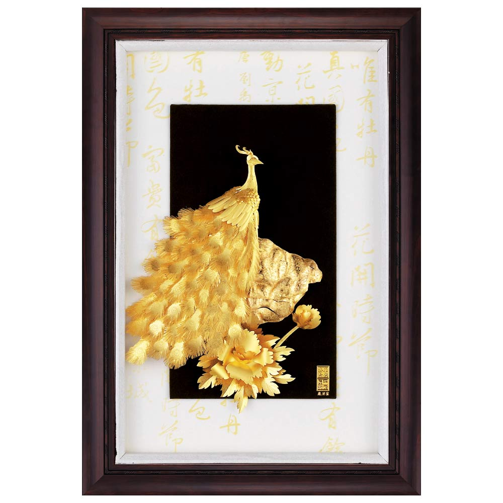 鹿港窯-立體金箔畫-花開富貴(小彩金系列48x34cm)
