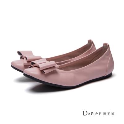 達芙妮DAPHNE-平底鞋-蝴蝶結鬆緊真皮方頭平底鞋-粉
