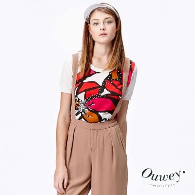 OUWEY歐薇-藝術感紅花滿溢針織衫-米