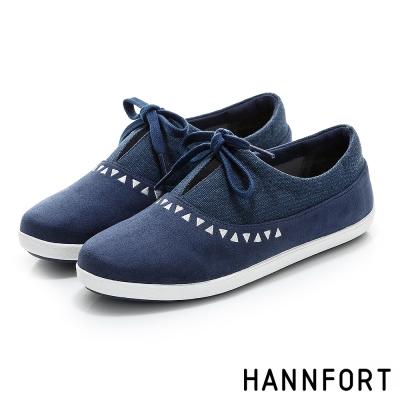 HANNFORT CALIFORNIA民族風綁帶氣墊休閒鞋-女-湖水藍