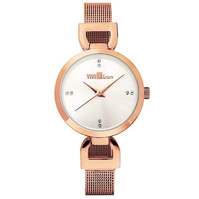 ViVi Fleurs 微感極簡素雅晶鑽時尚腕錶-玫瑰金/29mm